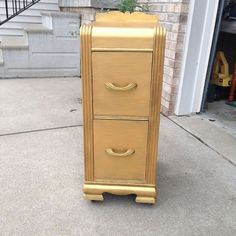 A Great Trash to Treasure Story!  Two matching nightstands where purchased at an estate sale and given new life.  Originally part of an Art Deco vanity, these were separated long ago.  Rescued, they have been given new life with gold paint.