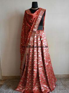 Banarasee/Banarasi Handwoven Brocade Unstitched Lehenga Fabric with Chiffon Dupatta-Red