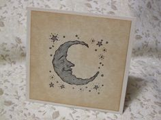 SILVER MOON thank you notecards - with silver stars / vintage style / ephemera / celestial / baby shower / thank you tag card