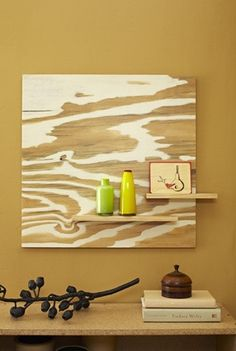 Paint different areas of the plywood! What easy art!