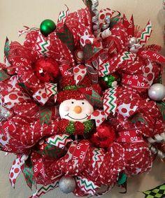 REDUCED**Christmas Snow Man Deco Mesh Wreath**REDUCED by KristinsDecoMesh on Etsy