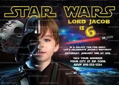 Personalize Star Wars Invitation, Darth Vader Party, Star Wars Birthday Invite