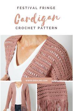 Crochet Patterns Wear Festival Fringe Cardigan – Every day can feel like a festival when you slip this… Crochet Coat, Crochet Cardigan Pattern, Crochet Jacket, Crochet Blouse, Crochet Clothes, Crochet Patterns, Crochet Fringe, Crochet Vests, Crochet Sweaters