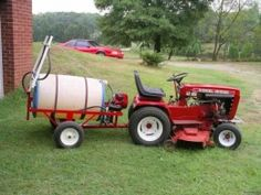 Tow-Behind Sprayer Homemade tow-behind sprayer constructed around a 55-gallon drum. Wheel pump is powered by a Briggs & Stratton engine. Sprayer unit is mounted on a Wheel Horse trailer