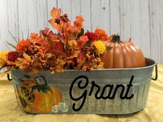Customized Hand Painted Galvanized Metal Tub for farmhouse decor. Fall and Autumn Decor Thanksgiving Centerpieces, Thanksgiving Table, Harvest Decorations, Fall Harvest, Autumn, Painted Pumpkins, Fall Diy, Fall Home Decor, Fall Crafts