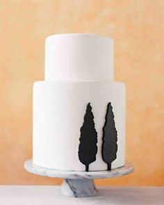 Cake with fondant trees - 9 White Wedding Cakes