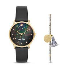 Mon Amie Novelty Education Black Leather Watch and Bracelet Set