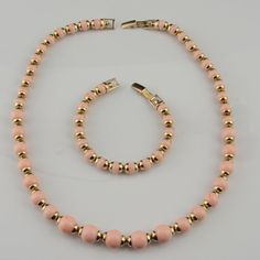 Avon Pink Goldtone Necklace Bracelet 1980s Vtg