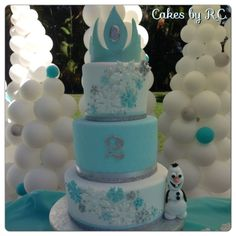 """Frozen"" Cake ~ entirely edible make one Tier with tiara add characters on the side for Maddies birthday in april"