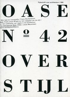 OASE Magazine 42 1995. Cover and table of contents.  Karel Martens, designer.