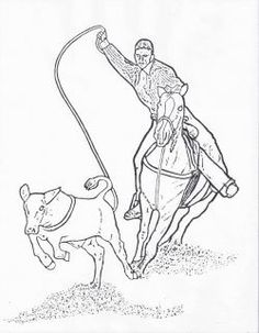 team roping coloring pages - photo#16