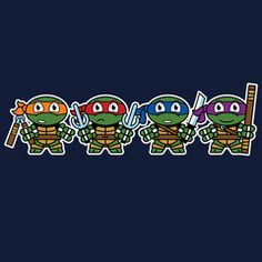 Turtle Power. These turtles are ready to take care of business. Mitesized Turtles tees and baby onesies by Nemons.  #tmnt #ninjaturtles #turtles #cowabunga #turtlepower #tee #shirt #tshirt #onesie #babyonesie #romper #babyromper #geek #geekshirt
