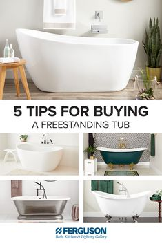 Looking for a new tub? Shop prepared with Signature Hardware's quick buying-guide, filled with five tips to consider when purchasing a freestanding tub. Double Sink Bathroom, Master Bathrooms, Stone Tub, Japanese Soaking Tubs, Acrylic Tub, Cast Iron Bathtub, Ferguson Showroom, Freestanding Tub, Tub Faucet