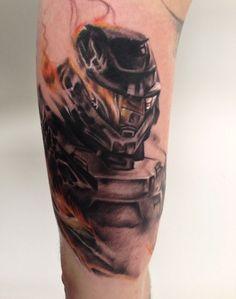 Halo Flaming Helmet Tattoo, as seen on Phil Kiel
