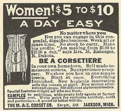 1915 ad: Be a Corsetiere