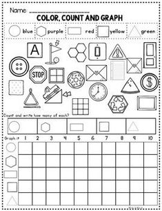 Free Kindergarten Math Worksheets focusing on a variety of skills including numbers to 10 teen numbers shapes addition and subtraction and number bonds 3d Shapes Worksheets, Shapes Worksheet Kindergarten, Graphing Worksheets, Geometry Worksheets, In Kindergarten, 2d And 3d Shapes, Solid Shapes, Flat Shapes, Homeschool Math