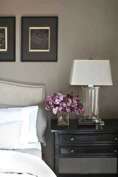 light headboard with black furniture. The purple pops with the grey wall color - beautiful bedroom, upholstered headboard, black nightstand. Gray Bedroom, Home Bedroom, Master Bedroom, Bedroom Decor, Bedroom Colors, Bedroom Ideas, Black Bedrooms, Gothic Bedroom, Bedroom Images