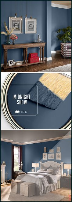 Fall in love with BEHR s color of the month Midnight Show This deep moody blue can be used in a variety of spaces throughout your home Try pairi Fall in love with BEHR s color of the month Midnight Show This deep moody blue can be used in a nbsp hellip Dark Blue Bedroom Walls, Dark Blue Walls, White Bedroom, Modern Bedroom, Bedroom Colour Schemes Warm, Bedroom Wall Colors, Bedroom Ideas, Bedroom Boys, Master Bedrooms
