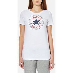 Converse Women's Chuck Patch Crew T-Shirt -Converse White (77 BRL) ❤ liked on Polyvore featuring tops, t-shirts, white, converse t shirt, crew neck t shirt, j.crew vest, white crew neck tee and crew-neck tee