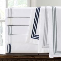 Echelon Home Three Line Hotel Collection Cotton Sateen Euro Shams (Set of 2) | Overstock.com Shopping - The Best Deals on Pillowcases & Shams