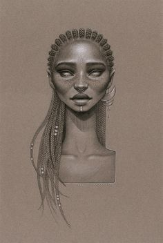 """""""Messages from the stars"""" by Sara Golish Charcoal, conté & silver ink on toned paper. 12.5"""" x 19.5"""" #Afrofuturism #70s #SciFi #Retro #Future #NaturalHair #BlackArt #Blackisbeautiful #cornrows #braids #silver #art #drawing"""
