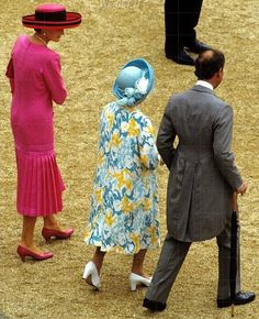 1992? Diana with the Queen Mother and Charles at a Buckingham Palace garden party