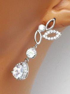 Rhinestone Bridal Earrings Crystal Drop Bridal by AuroraJewelryBox
