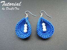 Crochet Earrings with Beads Tutorial Do It Yourself by DesCoTru