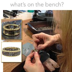 "Todd Reed Jewelry, A close-up look at our bench today will reveal a magnificent men's ring being made with 18ky gold and raw diamond cubes. Claire tells us that this process is like ""putting a puzzle together"" because each stack of cubes has to be precisely the correct size. #whatsonthebench?"