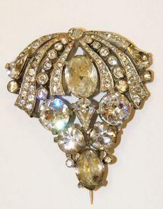 VTG 1930s EISENBERG ORIGINALS Huge Rhinestone Pot Metal Brooch Pin Vintage Bride #Eisenberg