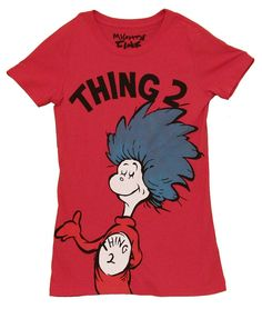 Dr. Seuss Thing 2 Big Text Above Heather Red Juniors T-shirt (Juniors Small)