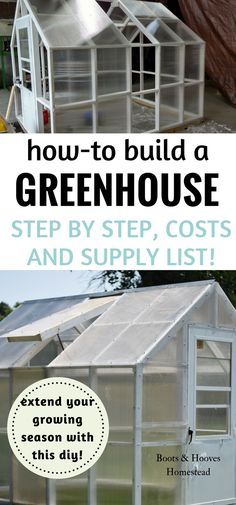 how to build a greenhouse. step by step instructions, costs and supply list.