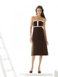 (NO.018796 )Sheath / Column Strapless Sleeveless Knee-length  Satin Brown Bridesmaid Dress / Cocktail Dress / Homecoming Dress