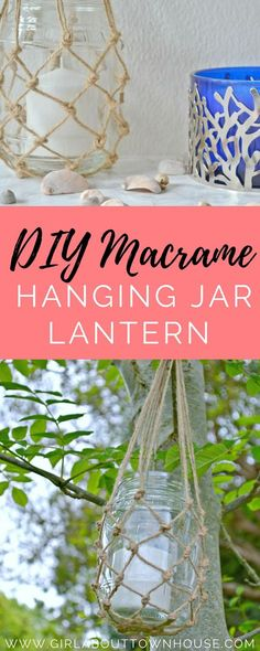 DIY macrame jar hangers. How to make gorgeous hanging lanterns from spare jars or masons, twine and candles. Ideal easy to make decorations for summer to hang in trees or on the patio.
