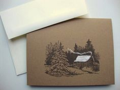 Rustic Cabin Note Cards Country Woodland Stationery Christmas Card by PapergirlStudios on Etsy https://www.etsy.com/listing/92408425/rustic-cabin-note-cards-country-woodland