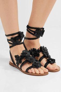 Tory Burch - Blossom Gladiator Appliquéd Leather Sandals - Black - US