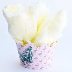 Flamingo cupcake wrappers to serve cotton candy.  Super cute for luau or pink flamingo theme baby shower or birthday party