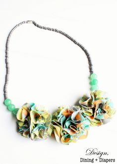 DIY Fabric Flower and Beaded Necklace  This was fun to make however it lays funny bc of the backing so you might wan to make it so the chain or string slides behind the flowers