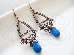 Handmade wire wrapped copper blue romantic earring by ildikova, $39.00