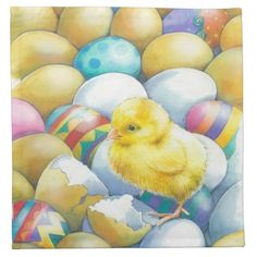 Cute easter chick walking on eggs napkin