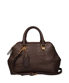 Brown crocodile embossed shoulder bag by Poon on secretsales.com