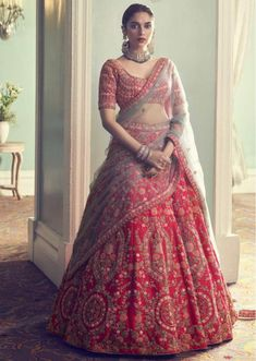 Indian designer light red lehenga choli for wedding outfit. For order whatsapp us on wedding outfits wedding dress wedding dresses lengha lehnga sabyasachi manish malhotra Indian Bridal Outfits, Indian Bridal Fashion, Indian Bridal Wear, Indian Designer Outfits, Indian Dresses, Designer Bridal Lehenga, Latest Bridal Lehenga, Bridal Lehenga Choli, Sabyasachi Lehenga Bridal