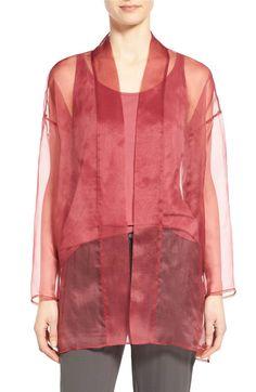 Main Image - Eileen Fisher Long Silk Organza Kimono Jacket