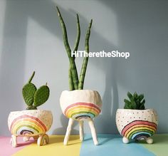 The Rainbow Pot Collection Ceramic handmade planter succulent pot cactus pot hanging planter home studio pottery gift ideas Mini Vasos, Ceramic Plant Pots, Cactus Ceramic, Pottery Gifts, Cactus Pot, Pinch Pots, Unique Flowers, Painted Pots, Succulent Pots