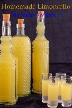 Italian Limoncello Recipe, Homemade Limoncello, Making Limoncello, Homemade Vanilla, Limoncello Cocktails, Homemade Alcohol, Homemade Liquor, Homemade Gifts, Cocktail Drinks