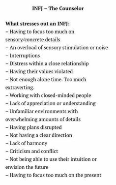 Other stressors for the Infj Infj Traits, Intj And Infj, Infj Mbti, Infj Type, Isfj, Extroverted Introvert, Intj Personality, Myers Briggs Personality Types, Stressed Out