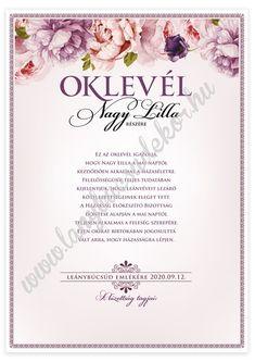 Lánybúcsúdekor Rose emléklap-szett – Oklevél Rose, Pink, Roses