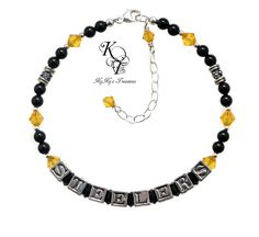 Choose from pewter or sterling silver letters for this beautiful STEELERS bracelet, made with Swarovski pearls & crystals with genuine Bali Silver tube beads.    Don't miss out!  Shop now.  https://www.etsy.com/listing/217024297/pittsburgh-steelers-steelers-jewelry