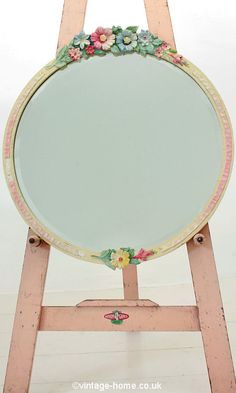 Vintage Home Shop - Oh-So-Pretty 1930s Floral and Pink Ribbon Barbola Wall Mirror: www.vintage-home.co.uk