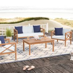 Beachcrest Home Delray 4 Piece Sofa Set with Cushions Frame Color: Teak Outdoor Furniture Sets, Decor, Furniture, Porch Furniture, Beachcrest Home, Home Decor, Sofa Set, Teak Patio Furniture, Teak Sofa